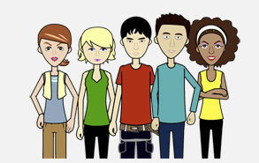 5 animated teenagers used in Algebra 2 Statistics and Probability