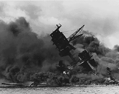 USS Arizona burning at Pearl Harbor 1941