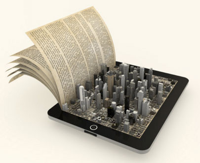composite image showing a book combined with an electronic tablet that has a cityscape coming up from tablet