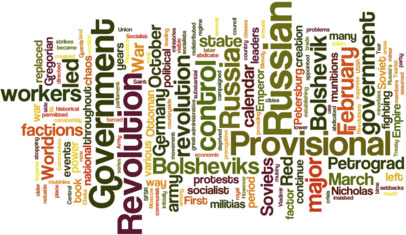 display of words that all have to do with Russian Revolution
