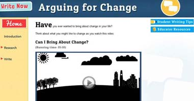 home page for Arguing for Change website