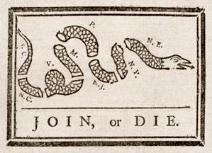 early U S cartoon saying Join or Die