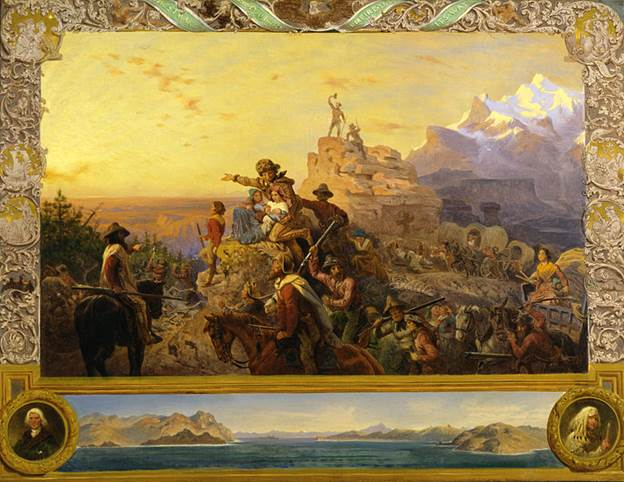 painting depicting explorers looking westward