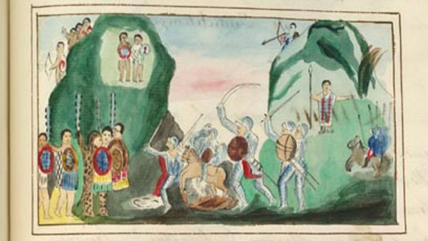 a colorful painting showing a battle between Spanish and Aztecs