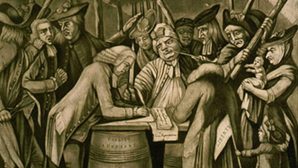"a painting showing a ""Virginian Loyalist"" being forced to sign a document by a club-wielding mob"