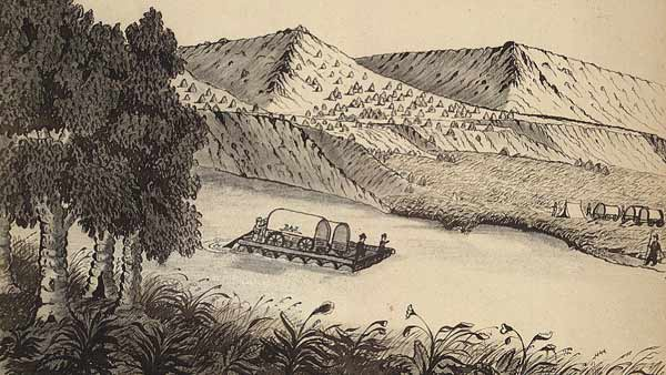 pencil drawing of two wagons on a raft in a river
