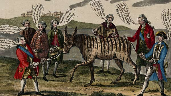 color drawing of a zebra surrounded by six men with text bubbles