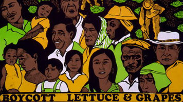 color hand-drawn illustration of a group of farm-workers and their families