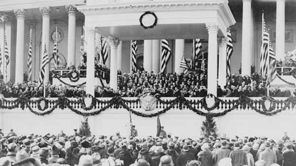 black and white photograph of the inauguration