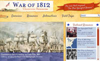 home page of War of 1812 website