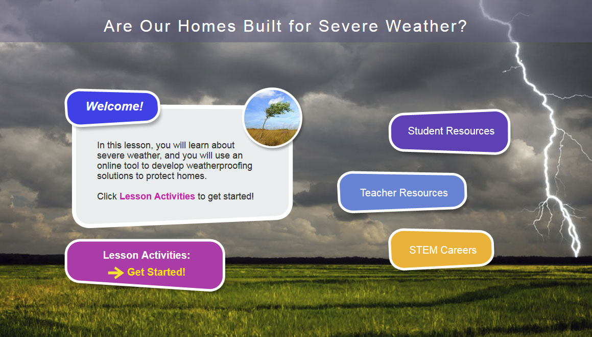 home page for weather website